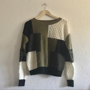 Vintage patch knit sweater